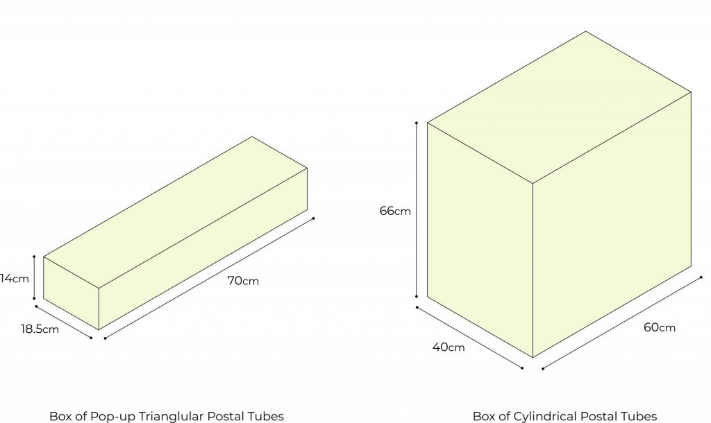 pop up triangular postal tube sizes